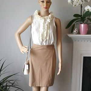 J.Crew cream 100% silk ruffels blouse